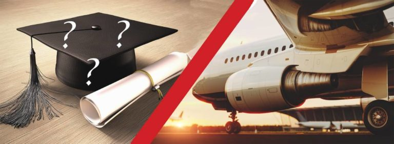 Go to college to become an airline pilot