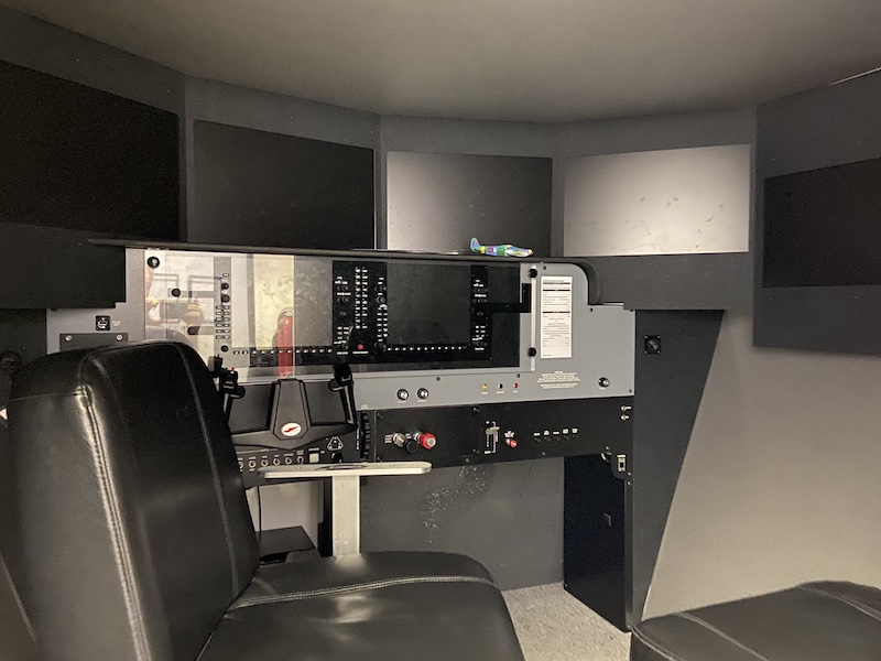 Inside of a AATD flight simulator